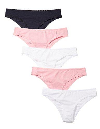 Marchio Amazon - Iris & Lilly - Belk004m5, Brazilian Brief Donna, Multicolore (Pink Nectar/white/navy Sky), L, Label: L