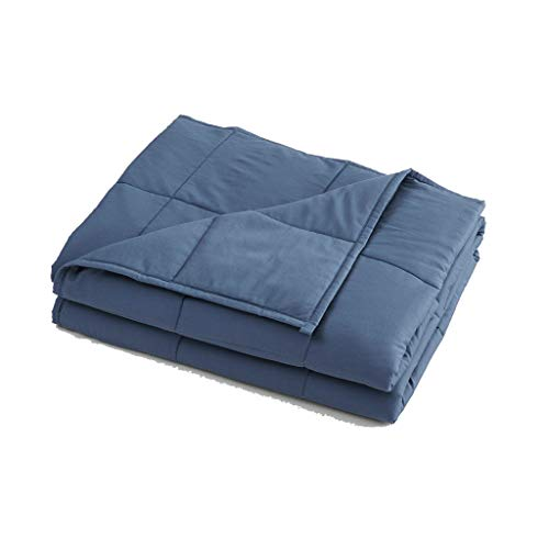 Chezmoi Collection Weighted Blanket 15 lbs 60x80 Inches - Cool Heavy Cotton Blanket with Glass Beads - for Individuals 130-160 lbs - Queen Size, Riviera Blue