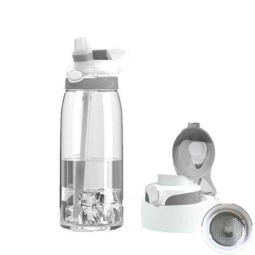 Botella de agua deportiva con pajita, 1000 ml, tapa deslizante sin BPA, triple antigoteo, reutilizable, de plástico, para exteriores, gran capacidad, para bicicleta, senderismo, etc.