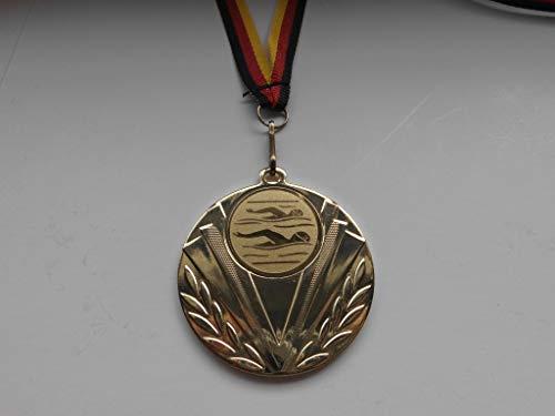 Fanshop Lünen Medaillen - aus Stahl 50mm - mit einem Emblem - Schwimmen - Frauen - Herren - Schwimmensport - inkl. Medaillen-Band - Farbe: Gold - mit Alu Emblem 25mm - (e247) -