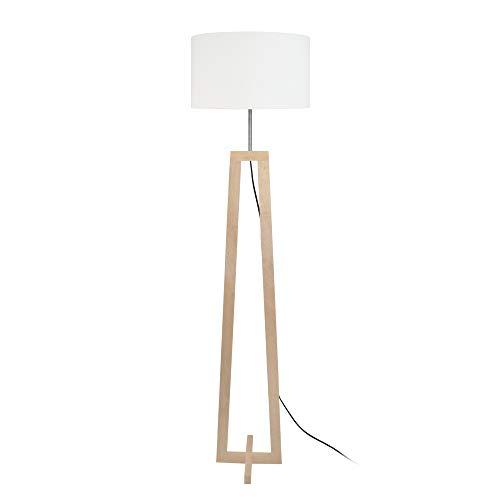 Tosel 51170lámpara de pie 1luz, madera, E27, 40W, color blanco, 40x 155cm