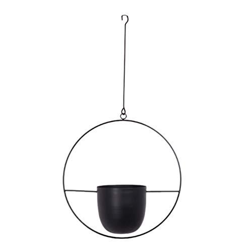 UPKOCH - Vaso da appendere alla parete e al soffitto, in metallo, per piante grasse, piante aeree, cactus, piante artificiali, colore nero