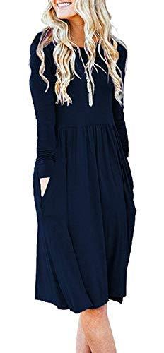 Women Solid Plain Pockets Empire Waist Loose Swing Casual Midi Winter Dress with Sleeve Indigo (M,Navy Blue) (Apparel)