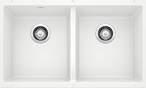 BLANCO 516320 Equal White Precis Silgranit 50/50 Double Bowl Undermount Kitchen Sink