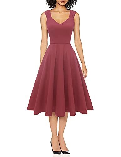DRESSTELLS Damen a Linie Casual Kleid festlich Petticoat Kleid Damen Audrey Hepburn Kleider Raspberry M