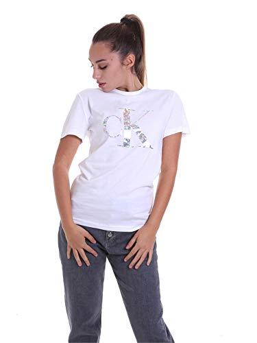 Calvin Klein Iridescent Metallic Logo tee Camisa, White, XS para Mujer