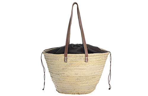 Afrikan Bags - Bolso Capazo de Palma | Bolso de Palma de Base Oval con Asa Bandolera en Marrón Oscuro y Cierre Ajustable - 48 x 17 x 30 cm