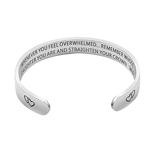 Jeracol Armreif graviert begradigen Sie Ihre Krone inspirierende Armband mit 10 mm Edelstahl graviert Manschette Armreif personalisiertes Geschenk für Mutter Tochter Enkelin Nichte Schwester.