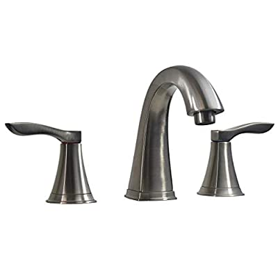 Aqua Plumb 1554006 Two Handle 8 in. Widespread Bathroom Faucet with Three Holes and Pop-up Drain, Satin Nickel