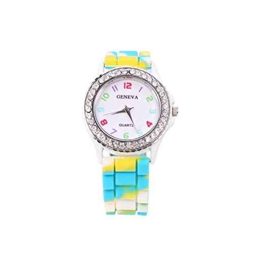 Relógios de silicone NICERIO para mulheres/meninas – Relógio de quartzo com geleia com strass na cor arco-íris – Branco, Picture 1, 23*4cm