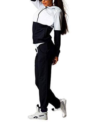 Set da 2 pezzi di abbigliamento da sport da donna, felpa con cerniera e cappuccio, a maniche lunghe, con cordini sui fianchi e pantaloni con tasche, bicolore Nero S