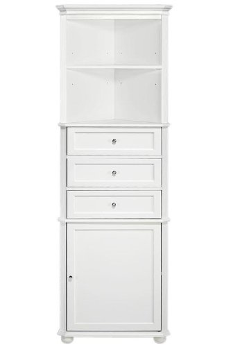 Home Decorators Collection Hampton Bay Corner Linen Bath Cabinet I, 3-Drawer,...