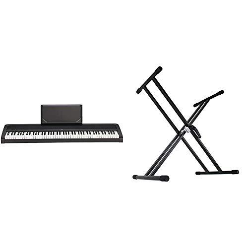 【セット買い】KORG 電子ピアノ B2N 88鍵 ライトタッチ鍵盤 ダンパーペダル、譜面立て付属 3か月無料オンラインピアノレッスン付 & Dicon Audio KS-020 Keyboard Stand X型キーボードスタンド ダブルレッグ
