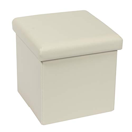 Bonlife Pouf con Contenitore Poggiapiedi per Divano Sgabello Basso Cubo Portaoggetti Pouf Lino Salotto Tavolino da Salotto Bianco 30x30x30cm