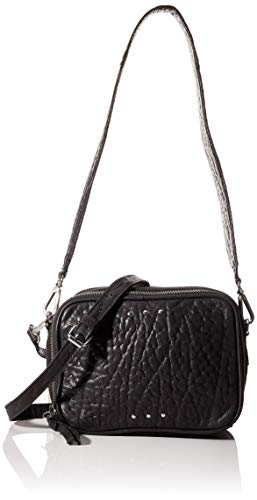 Pieces Pcninja Leather Cross Body, Sac à l'épaule Femme, Noir (Black), 7x13x17,5 Centimeters (B x H x T)