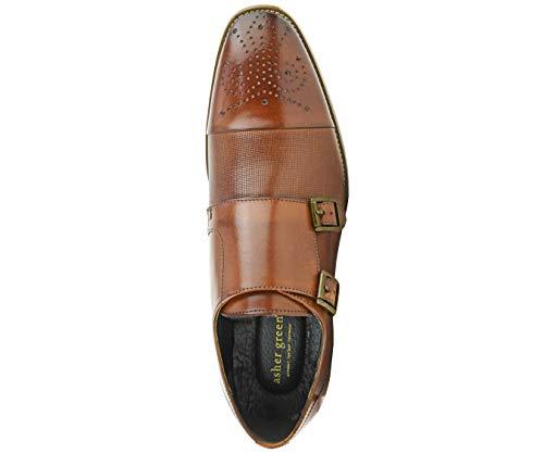 Asher Green AG1101 – Men's Dress Shoes, Formal Mens Shoes – Genuine Calf Leather Shoes for Men – Cap Toe Double Monk Strap – Color: Tan Cognac, Size: 7.5