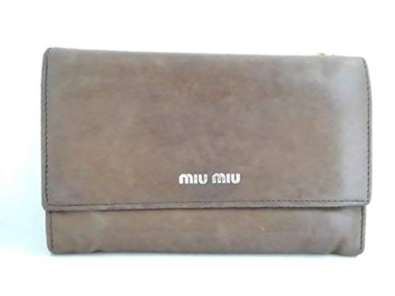 企業ダニ保証(ミュウミュウ)MIUMIU 3つ折り財布 ブラウン 【中古】