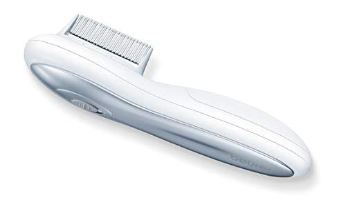 Beurer HT 15 - Peine lendrera eléctrico anti-piojos, con corriente eléctrica, señal acústica, incluye peine de limpieza, 158 x 37 x 50 mm, color blanco plateado
