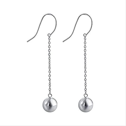 Pendientes de plata de ley 925, tachuelas Pendientes de plata Mujer Joyería de moda simple Pendientes largos de bola de perlas brillantes Hermoso regalo Personalidad Temperamento Pendientes antialérg