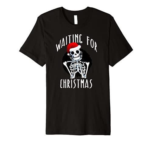WAITING FOR CHRISTMAS Skeleton Funny Santa Hat Xmas Meme Premium T-Shirt