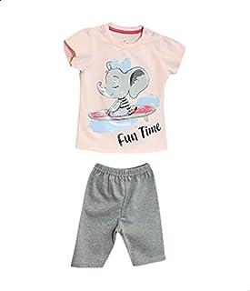 Jockey Printed Snap-Closure Short-Sleeve T-shirt with Elastic-Waist Pants Pajama Set for Girls - Pink and Grey, 6-9 Months