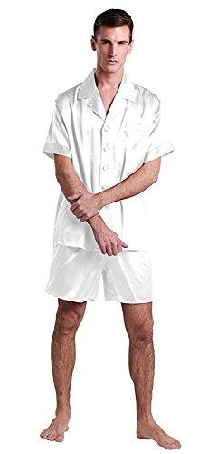 LilySilk Pyjama Homme Soie Été 2 Pièces Ensemble de Pyjama Ete 100% Soie 22MM Chemise Manche Courte Short Fluide Pyjashort Vêtement de Nuit Pyjama Hom