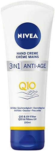 NIVEA 3in1 Anti-Age Q10 Hand Creme (100 ml), Handpflege hilft Falten zu mildern, Hautcreme mit UV-Filter für normale bis trockene Hände