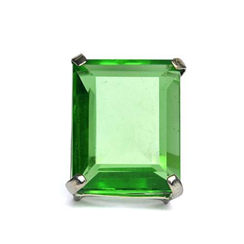 Anillo de promesa con anillo de amatista verde brasileño, anillo de plata esterlina Gema de corte esmeralda Anillo de piedras preciosas sueltas verde