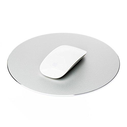 Desire2 Mousepad Gaming Aluminium Mauspad Rund Wasserfest Anti-Rutsch Gummi-Unterlage kratzfreie Oberfläche Maus Pad kompatibel mit Apple Mac, MacBook, iMac, Computer, Laptop, Maus – Silber