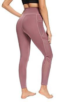 CHAMA Women Cut Out Yoga Pants Tummy Control Mesh Workout Leggings  3-Cameo Brown,XX-Large