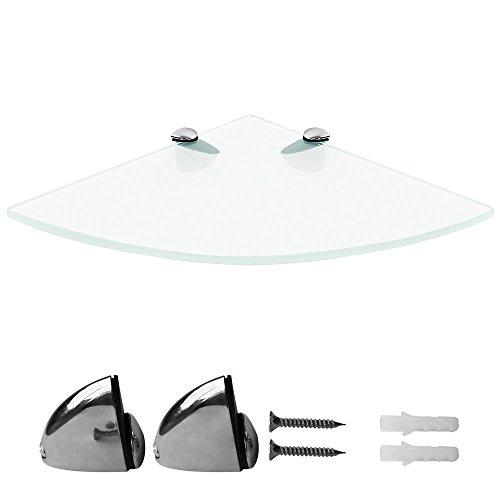 Melko Eckregal Glas 35x35 Wandablage 6mm ESG Sicherheitsglas Badezimmer Regal Wandeckregal