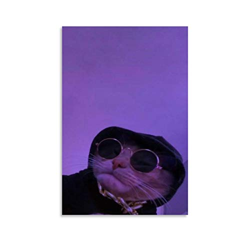 Aesthetic Wallpapers Cat with Glasses Purple Background Canvas Art Poster and Wall Art Picture Print Modern Family Bedroom Decor Posters 08x12inch(20x30cm)