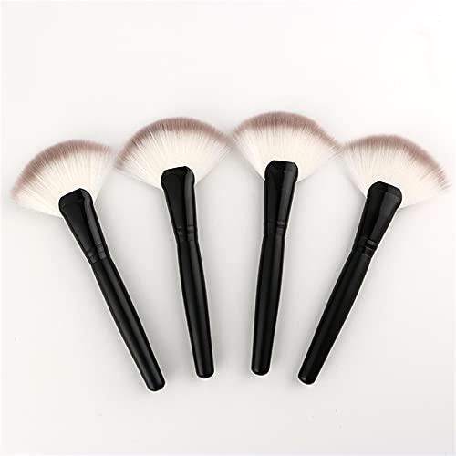 KFGF Brocha para resaltar el maquillaje con cerdas de dos colores, gran forma de abanico, brocha para base de maquillaje, brocha con mango de madera