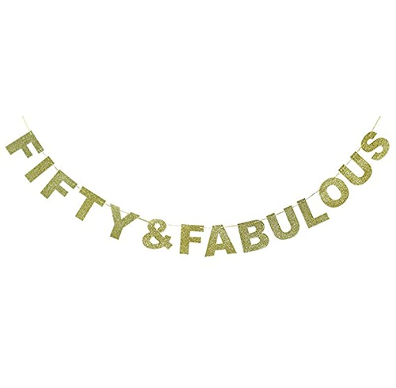 Hatcher lee Fifty & Fabulous Banner Gold Glitter for Wedding Anniversary 50th Birthday 50 Years Old Party Decoration Sign Ideas yebcmkdd714751