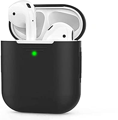 AHASTYLE AirPods Case Cover Silicone [Front LED Visible & Supports Wireless Charging] Compatible with Apple Airpods 2&1(2019) (Without Carabiner, Black) by Ahastyle