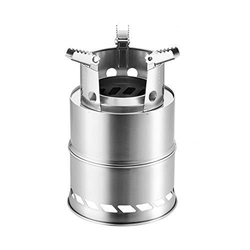 Abaodam Estufa de leña de acero inoxidable portátil plegable utensilios de cocina Picnic estufa accesorio para acampar al aire libre con Blowtube
