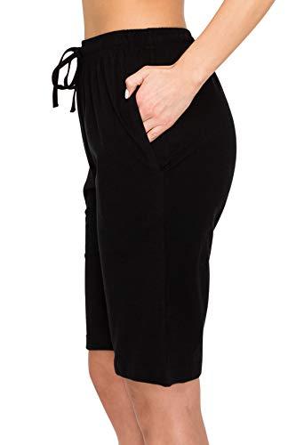 EttelLut Comfy Elastic Waist Lounge Women Bermuda Shorts-Drawstring Beach Knit Jersey w Pockets Black XL