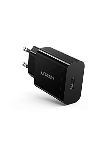 UGREEN Caricatore USB Quick Charge 3.0 Caricabatterie USB FCP Carica Rapida 18W 5V 3A Compatible with Samsung S20 A8 Huawei P40 Mate 30 Honor 10 Xiaomi Mi 10, iPhone, Tablet, AirPods, Cuffie Wireless