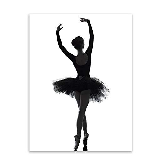 ZMFBHFBH Elegante schöne Balletttänzerin Modern Schwarz Weiß Wandkunst Druck Und Poster Leinwand Malerei Wohnzimmer Wohnkultur 50x70cm (19.7x27.6 Zoll)Kein Rahmen