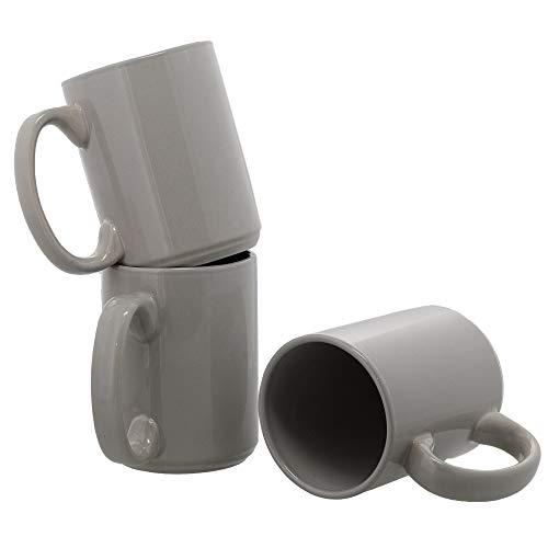 Grey Ceramic Coffee Mug Set 16 oz - Set of 3