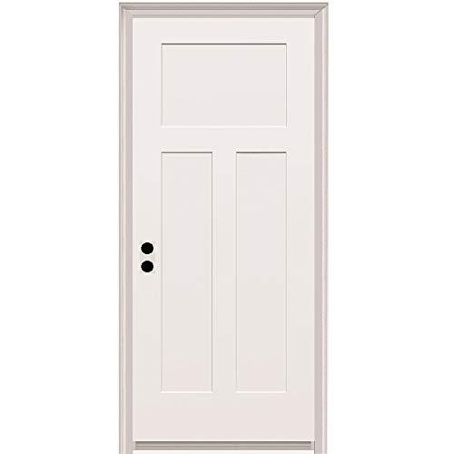 National Door Company ZZ20494R 20-Minute Fire Rated MDF Door, Primed, Craftsman 3-Panel, Right Hand In-Swing, 32