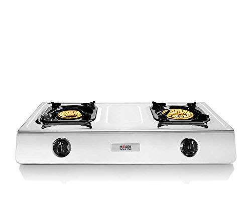"""HAEGER SAFINE Plus - Cocina a Gas en INOX, 2 Quemadores, Acero Inoxidable, Doble Quemador en Bronce con 110mm y 90mm con Llama """"Whirlwind, Encendido automático"""