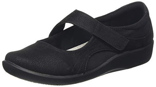 CLARKS Women's Sillian Bella Mary Jane Flat, Black Synthetic, 10 M US