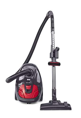 Fakir Red Vac Trend | TS 121, Bodenstaubsauger, Staubsauger mit Beutel, EPA-Filter, mit Hocheffizienzmotor, leise, großer Aktionsradius, schwarz/rot, 700 W