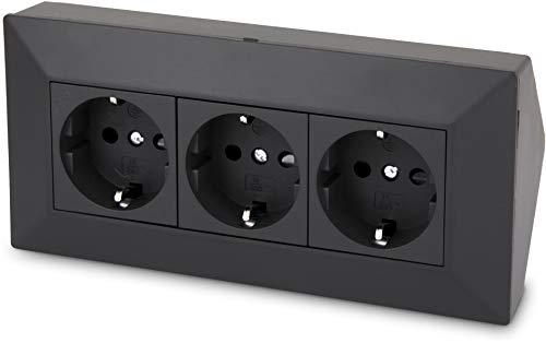 3-fach Aufbau Steckdosenleiste Ecksteckdose - 230V 16A 3600W - schwarz