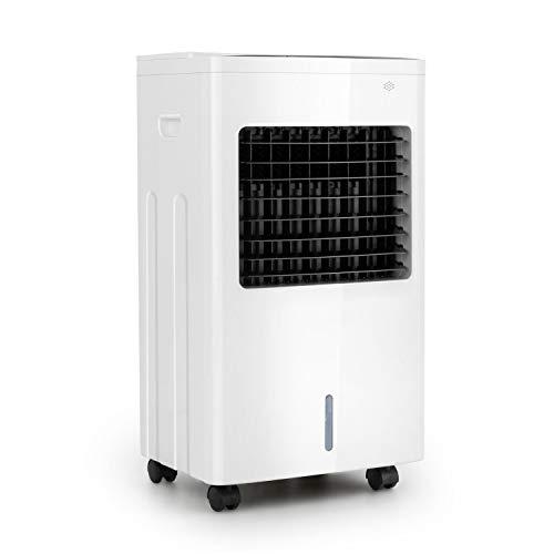 oneConcept Freeze Me - 3-in-1 Luftkühler Ventilator Luftbefeuchter, 75 W, Luftdurchsatz: 400 m³/h, 3 Windstärken, Wassertank-Volumen: 8 Liter, NatureWind Function mit 3 Geschwindigkeiten, blütenweiß