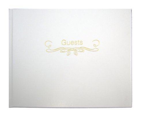 "BookFactory Leather Wedding Guest Book - 72 Pages White Leather Cover 9"" x 7"" Smyth Sewn Hardbound (LOG-072-GUEST)"