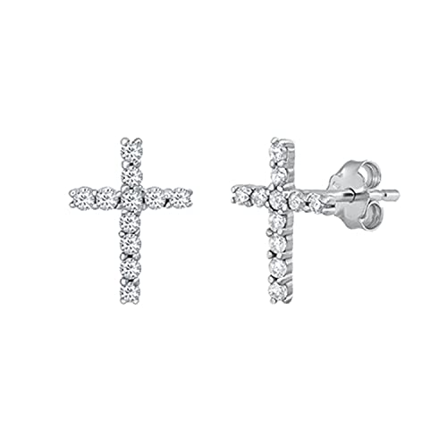 Christian Cross Earrings CZ 925 Sterling Silver Studs Push Back Rhodium Plated