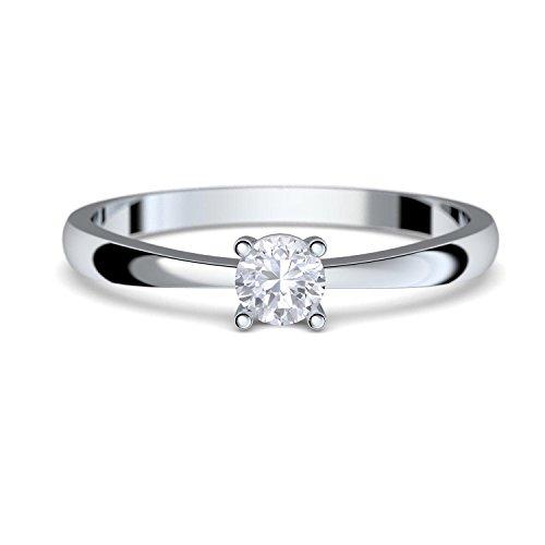 Amoonìc Verlobungsring Weissgold Damen 333 *GRATIS LUXUSETUI* mit Zirkonia Stein Weißgold-Ring wie Verlobungsring Diamant oder Brilliant Ring Diamantring Verlobung FF385WG333ZIFA56