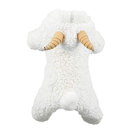 Ksruee Pet Dress Up Disfraces de ovejas para Perro con artículos para Mascotas Ropa de otoño e Invierno Cachorro de algodón Fiesta de Navidad de Halloween Vestido de Oveja Blanco para Sudaderas con